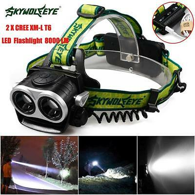 New 8000LM 2X XM-L T6 LED Rechargeable 18650 USB Headlamp Headlight Torch A3