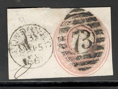 Queen Victoria - 1d Pink Embossed - Good Duplex Cancel - On a Piece