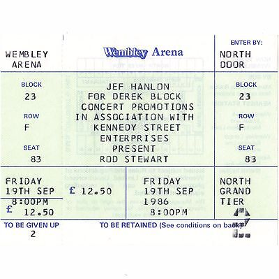 ROD STEWART Concert Ticket Stub LONDON 9/19/86 WEMBLEY THE FACES MAGGIE MAY Rare