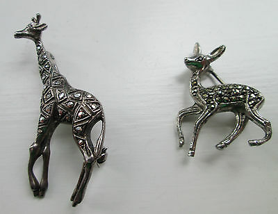 PAIR OF Art Deco Silver coloured metal  Marcasite Giraffe and Deer Brooches
