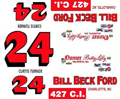 #24 CURTIS TURNER 1965-66 Ford  Bill Beck Ford 1/64  Scale Slot Car Decals
