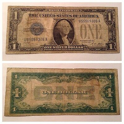 Vintage 1928-A $1 Silver Certificate One Dollar Bill Funnyback Blue Washington