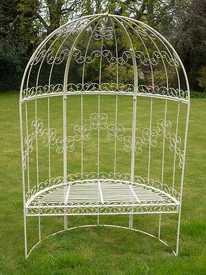 Bench With Pergola, Wrought Iron Arch Seat, Iron Ornate Arbour, Metal Pergola