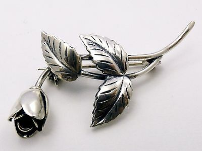Vintage Sterling Silver Flower Brooch by S Christian Fogh of Denmark   ROSE