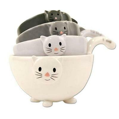 SET OF 4 CAT MEASURING CUPS Nesting Ceramic Bowls Cute Stackable Dishwasher Safe
