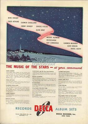 1942 Decca Records Music of The Stars~Fred Astaire~Jimmy Dorsey~Bing Crosby Ad