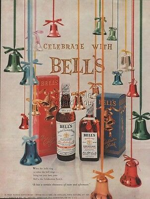 1954 Arthur Bell's Scotch Whisky Perth Scotland ~ Christmas Box Whiskey Print Ad