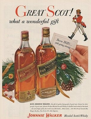 1954 Johnnie Walker Red ~ Black Label Scotch Whisky Bottle Whiskey Christmas Ad