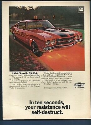 Vintage 1970 Chevy Chevelle SS 396 magazine ad