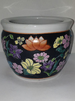 "Vintage Asian Hand Painted Flowers Ceramic Porcelain Fish Bowl Small 3.75"" Pot"