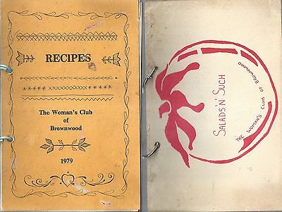 Lot Of 2 *brownwood Tx 1979 1980 Woman's Club Recipes Cook Book *texas Community