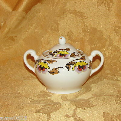 Tuscan Fine Bone China Antique Covered Sugar Bowl & Lid Poppies Floral England