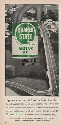1958 Sunderland MA Highway Expressway Quaker State Oil can Ad