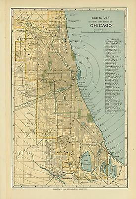 Vintage Street Map 1903 SKETCH MAP OF CHICAGO SHOWING CITY LIMITS Color Plate