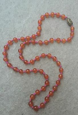 Vintage Antique Chinese Red Carnelian Agate Bead Necklace SILVER Clasp