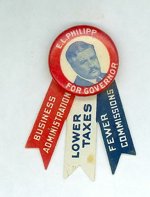Vintage 1914 Wisconsin Governor E.L. Philipp Political CampaignPinback Button