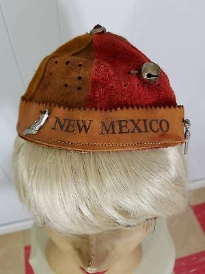 Vintage 50s Leather Suede Ruff N Ready Costume Beanie Hat New Mexico Charms
