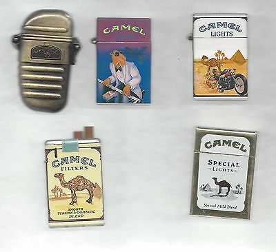 Lot of 5 Butane Gas Camel Lighter, Multiple Designs, See Description