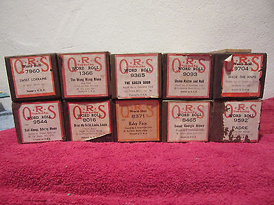 QRS-Player Piano Word Rolls Lot of 10 Rare Find!!!!