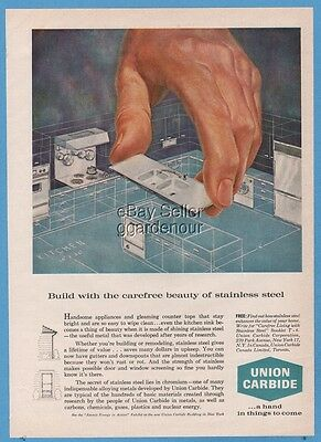 1961 Union Carbide Corporation Stainless Steel Kitchen 1960s Floor Plan Ad