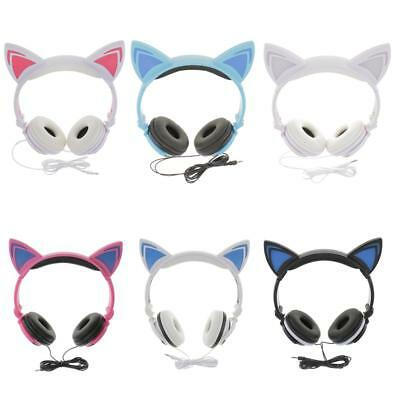 Flashing Glowing Cat Ear Headphones Gaming Earphone with LED Light for PC