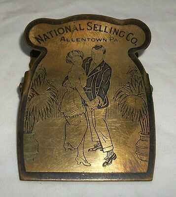 Vintage Brass Advertising Paperclip National Selling Co Allentown Paper Clip