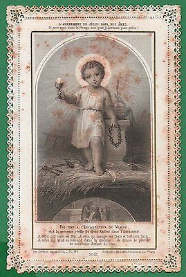 CHILD JESUS & INSTRUMENTS OF PASSION Antique 19th Cent. 1890  LACE HOLY CARD