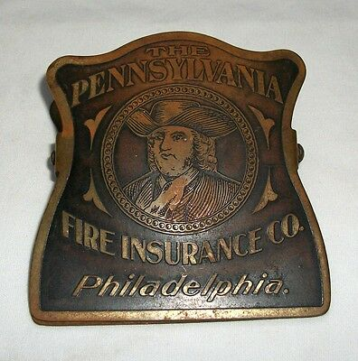Vintage Brass Advertising Paperclip Pennsylvania Fire Insurance Co Paper Clip