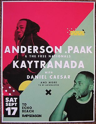 ANDERSON .PAAK 2016 Gig POSTER Toronto Canada Concert THE FREE NATIONALS