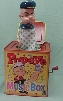 Vintage Mattel 1961 Popeye the Sailor Man Jack in the Box Pop Up