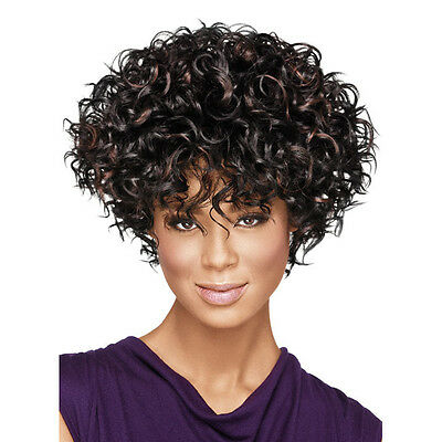 Fashion Lady Curly Short Full Lace Hair Wigs Brazilian Frontal Wig Dark Brown
