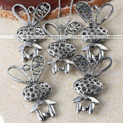 5x Tibetan Silver Hollow Rabbit Charms Bead Pendant Jewelry Findings DIY