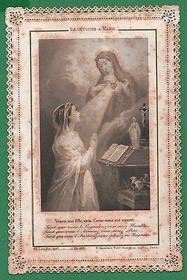 DEVOTION TO MARY - SACRED HEART MARY Antique 19th Cent. 1890 LACE HOLY CARD