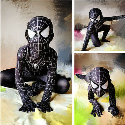 Halloween Boys Black Suit Spiderman Kids Superhero Party Cosplay Costume Party M