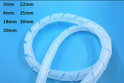 White Winding Wire Flexible Plastic Spiral Tube Car Audio Installation Cover 3mm