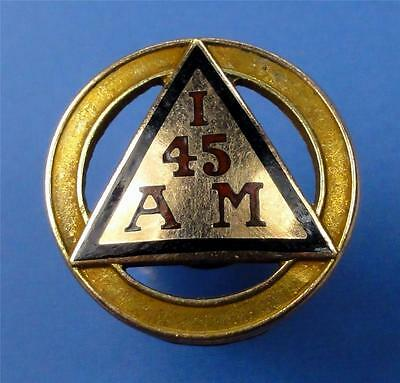 "VTG 10K Gold Service Award Pin ""I.A.M. 45"" signed/closure missing 15mm ME2847"