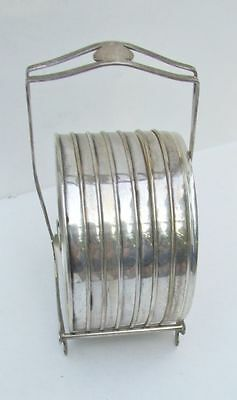 Vintage Webster Sterling Silver & Cut Glass Coasters & Caddy
