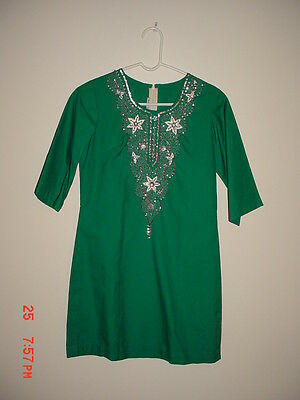 New Green Tunic Top/dress Silver & White Embellishments Sequins Size Small India