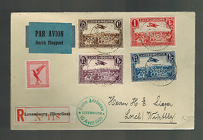 1931 Luxembourg Airmail Cover to Lorch Germany Mixed Franking Herman Sieger