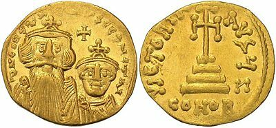 FORVM Gold Byzantine Solidus Constans II and Constantine IV Facing Busts / Cross