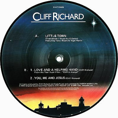 CLIFF RICHARD Little Town 1982 XMAS UK PICTURE DISC 3 Tracks Vinyl 45 Ex Cond