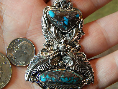 New Large Sterling Bisbee Turquoise 2 stone Pendant Navajo Lorenzo James