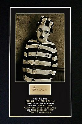 CHARLIE CHAPLIN Signed Photo Print GLASS FRAMED 12 in x 8 1/2in (210mm x 297mm)