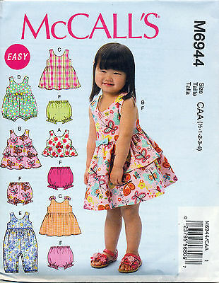 Mccall's Sewing Pattern 6944 Toddlers/girls Sz ½-4  Dresses Top Rompers Panties