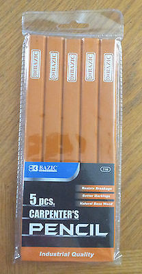 """Lot 100 Bazic Carpenter's Pencil  3/16"""" Lead Resists Breakage Industrial Quality"""