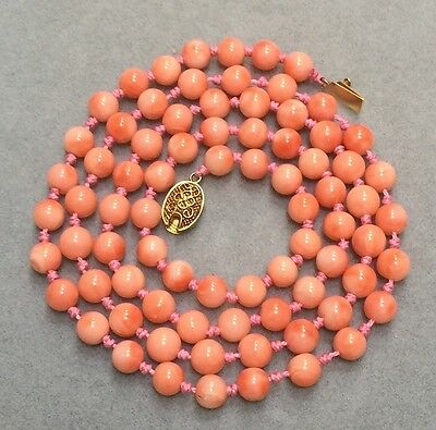 Vintage Chinese Angel Skin Coral Bead Necklace 34 Grams