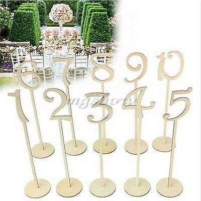 Rustic Wooden Table Numbers 1 to 20 Holder Base Font Wedding Party Centerpieces