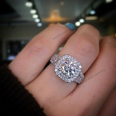 14K White Gold Plated Round Cubic Zirconia Women's Halo Engagement Ring 2.1/1CT