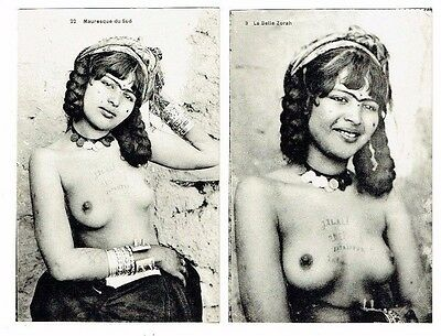 Ethnic Nude Postcards North African Lady With Jewellry & Tattoos On Her Chest