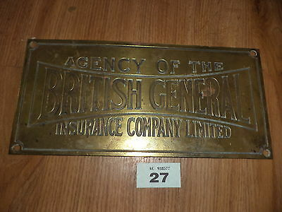 vintage brass wall sign plaque BRITISH GENERAL INSURANCE